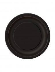 20 Petites assiettes en carton noires 18 cm