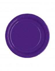 20 Petites assiettes violettes rondes en carton 18 cm