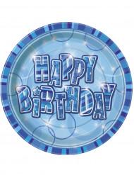 8 assiettes Happy Birthday bleues