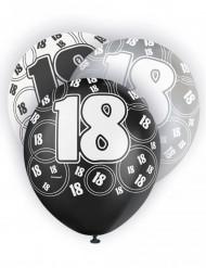 6 Ballons latex gris noirs et blancs 18 ans