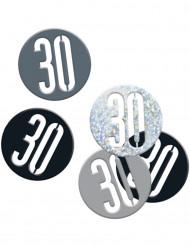 Confettis âge 30 ans gris et noirs 14 g