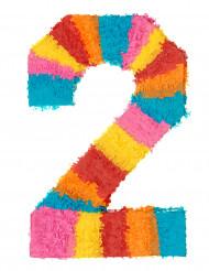 Pinata du chiffre 2 multicolore