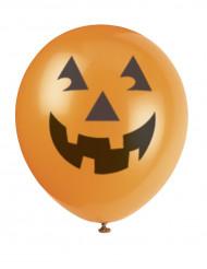 6 Ballons en latex tête de citrouille halloween 30 cm