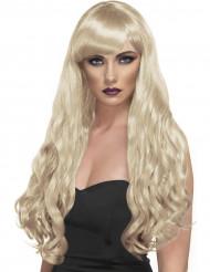 Perruque longue ondulée blonde à frange femme