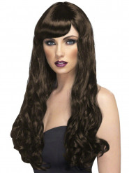 Perruque longue ondulée marron auburn femme
