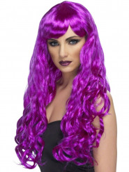 Perruque longue ondulée violette femme