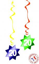 6 Décorations à suspendre spirale 20 ans