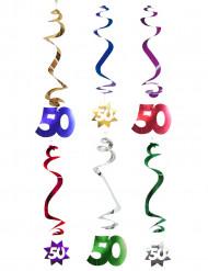 6 Décorations à suspendre spirale 50 ans