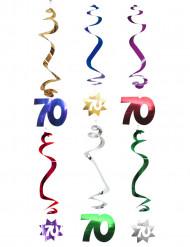 6 Décorations à suspendre spirale 70 ans