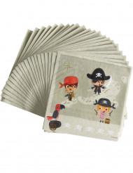 20 Serviettes en papier Pirate au trésor 33 x 33 cm