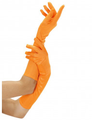 Gants longs oranges fluo adulte