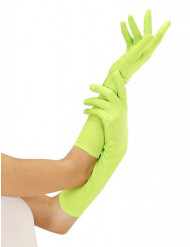 Gants longs verts fluo adulte