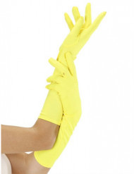Gants longs jaunes fluo adulte