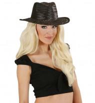 Chapeau cowboy noir adulte en paille