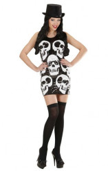 Déguisement robe sequins tête de mort femme Halloween