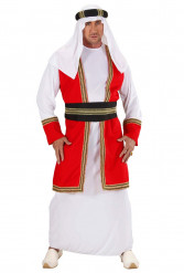 Déguisement prince arabe rouge et blanc adulte