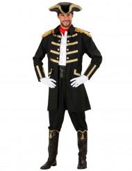 Déguisement capitaine pirate noir et or homme