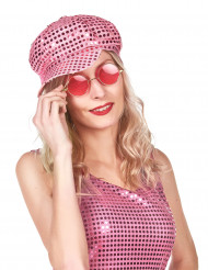 Casquette disco à sequins rose adulte