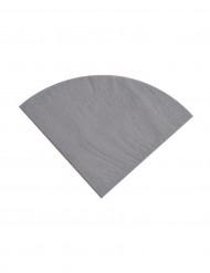 20 Serviettes en papier Argent ronde 30 cm
