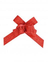10 Petits nœuds automatiques pailletés rouges 14 mm