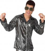 Veste disco argentée brillante homme