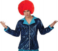 Veste disco bleue claire brillante homme