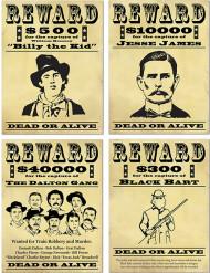 4 Affiches de récompense Bandits américains 48,3 cm