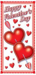 Décoration de porte coeur Saint-Valentin