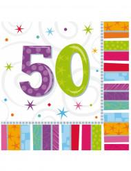 16 Serviettes en papier 50 ans 33 x 33 cm