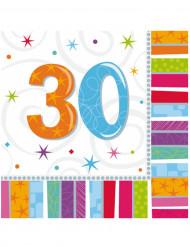 16 Serviettes en papier 30 ans 33 x 33 cm