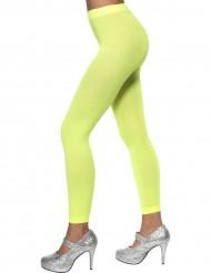 Collants sans pieds vert fluo femme