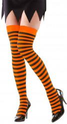 Bas rayés orange et noirs adulte