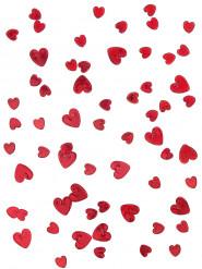 Confettis coeurs rubis relief