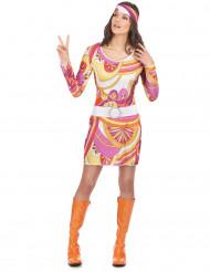 Déguisement hippie rose et orange femme