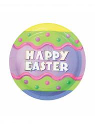 8 Assiettes à dessert  Happy Easter Pâques 18 cm