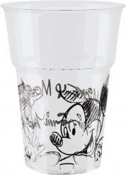8 Gobelets plastique Mickey black and white™