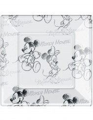 8 Assiettes carrées en plastique Mickey black and white™