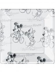 8 Assiettes carrées en plastique Mickey black and white™