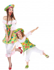 Déguisement de couple clown mère et fille