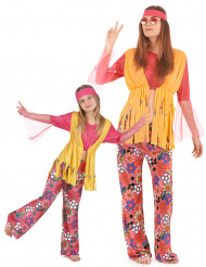 Déguisement couple hippie muticolore mère et fille