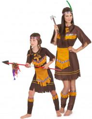 Déguisement de couple indienne marron mère et fille