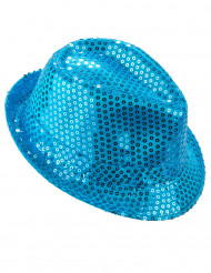 Chapeau borsalino à sequins bleu clair adulte