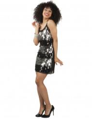 Déguisement disco femme noir et argent