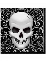 16 Serviettes en papier Tête De Mort Halloween 33 x 33 cm