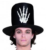 Chapeau haut de forme main squelette homme