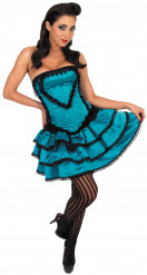 Déguisement danseuse burlesque bleu femme