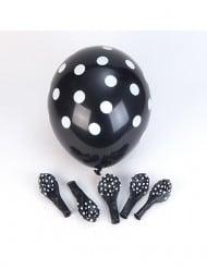 6 Ballons en latex noirs à pois blanc 30 cm