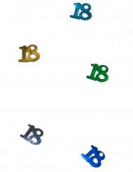 Confettis de table multicolores chiffre 18
