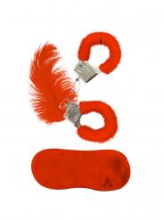 Kit accessoires fourrure rouge adulte