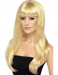 Perruque longue blonde platine à frange femme